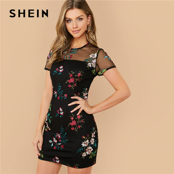 SHEIN Black Sheer Mesh Yoke Flower Embroidered Dress Women 2020 Summer Elegant Fitted High Waist Floral Short Dresses 1