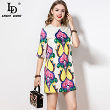 LD LINDA DELLA 2021 Fashion Runway Summer Dress manica corta da donna Art Flowers Print paillettes perline abito Vintage allentato
