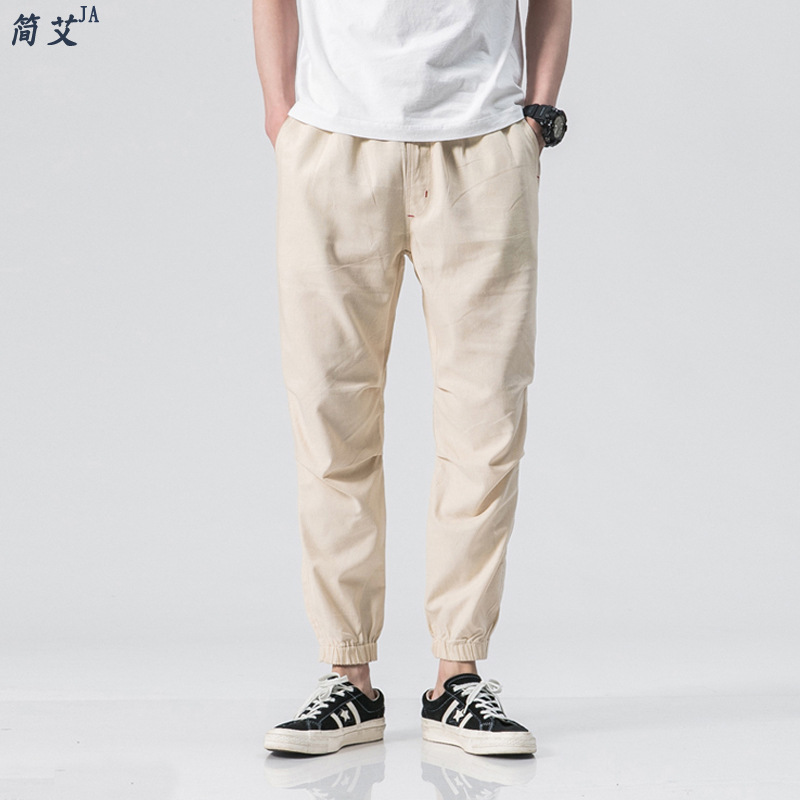 Summer Japanese-style Popular Brand Men's Flax Capri Pants Loose Thin Cotton Linen Casual Pants Large Size Men's Trousers Ankle