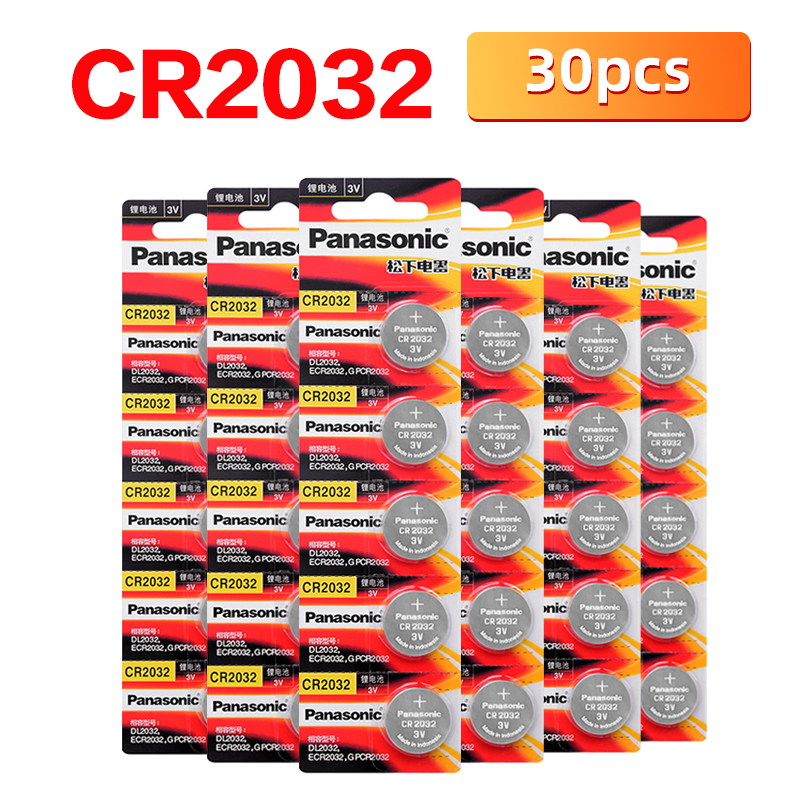 Новый бренд PANASONIC 30 шт./лот cr2032 абсолютно новые кнопочные батарейки 3 в монета литиевые игрушки калькуляторы PDA пульт дистанционного управле...