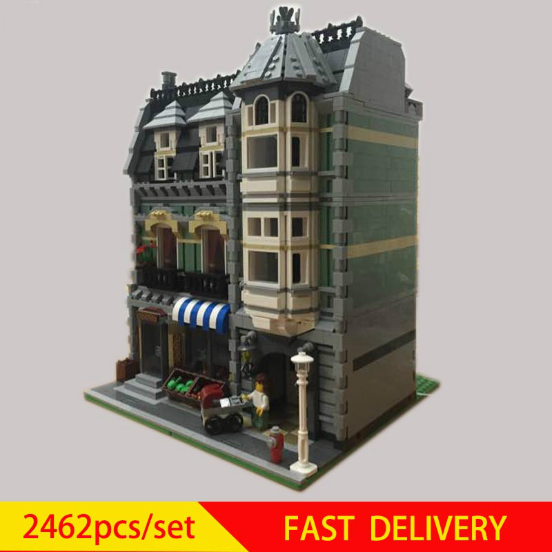 City Street Green <font><b>Grocer</b></font> Model Building Kits Blocks Bricks Compatible 10185 Educationa Toy kid Birthday DIY gift image