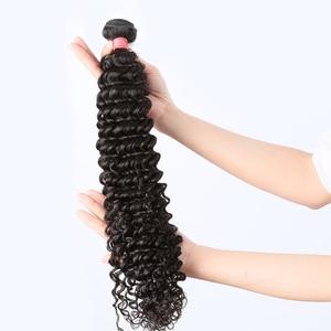 8-28 30 40 дюймов глубокая волна пряди с закрытием бразильские кудрявые 100% человеческие волосы водная волна 3 4 пряди плетение и Кружева Закрыти...