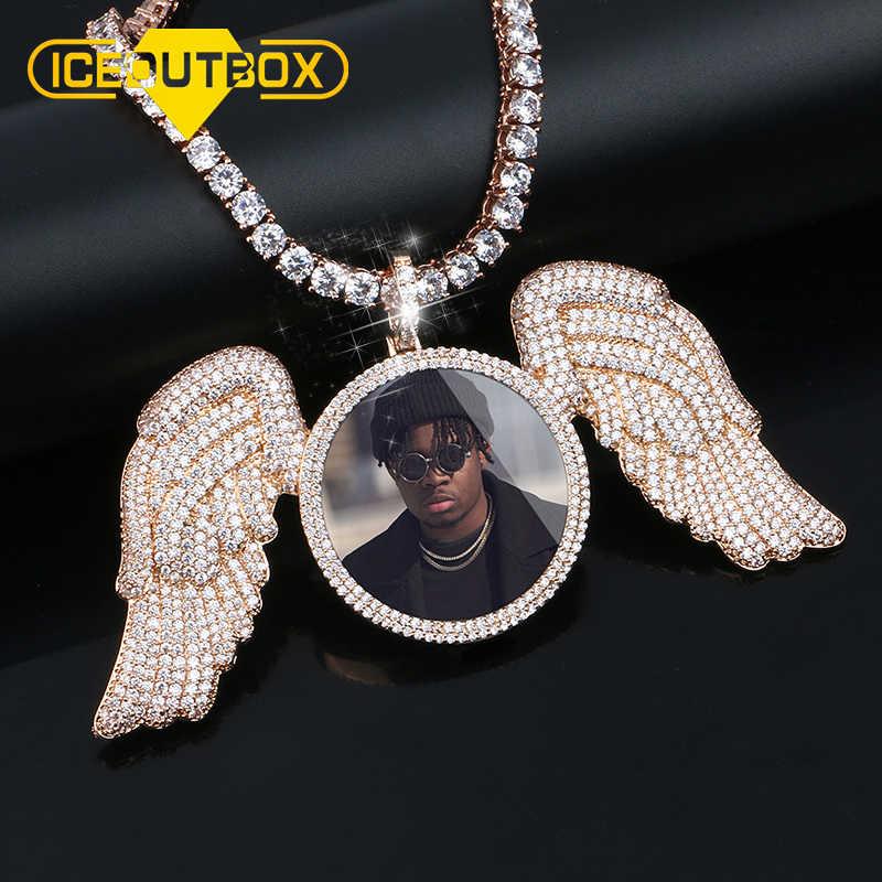 Nowe różane złoto wykonane na zamówienie zdjęcie anioł skrzydło medaliony naszyjnik z aaa sześcienne cyrkon męski hip hop biżuteria łańcuch tenisowy