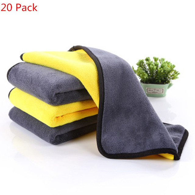 20 pcs 600gsm Car Wash Microfiber Towels Super Thick Car Cleaning Cloth For Washing Drying Absorb Wax Polishing 30x30cm