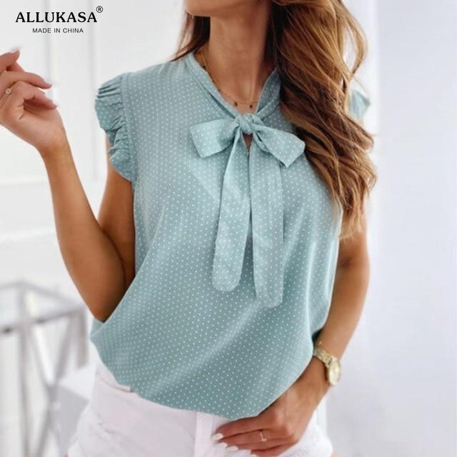 Blouses Short Sleeves Shirt Summer Bow Lace Up Polka Dot Female Ruffle Pullover Vintage Blusa Muyogrt   shirts  womens sexy tops 4