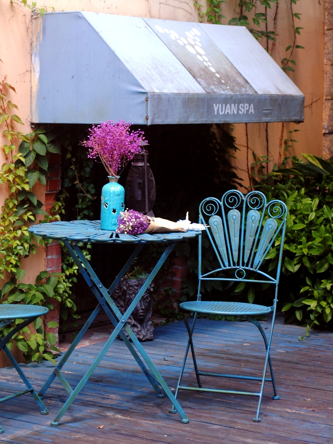 Outdoor Folding Table And Chair Suite Outdoor Patio Table And Chair Three-piece Garden Balcony Outdoor Furniture Metal