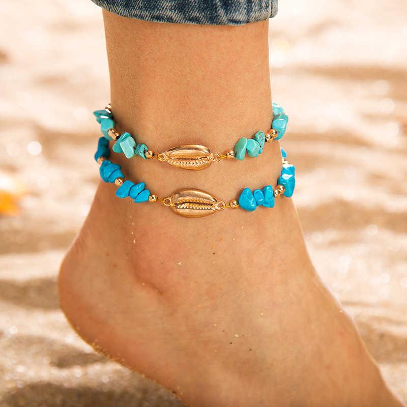 2 ピース/セット自由奔放に生きる足首ブレスレット海ヒトデチャームビーチアンクレットシェル女性手作りボヘミア脚ブレスレットの宝石