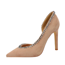 Women Pumps Nude Diamond Pointed Toe Sexy Super Thin High Heel Shoes Stiletto Ladies Big Size Wedding Pumps Shoes K0309 plus size 35 42 women pumps pointed toe ladies thin heels wedding shoes red bottom high heel sole nude dress pumps women 952 1ma