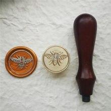 Selo de cera de abelha de mel selo de cera de abelha selo de cera de selo de metal alça de madeira para diy decoração de casamento cartão de convite