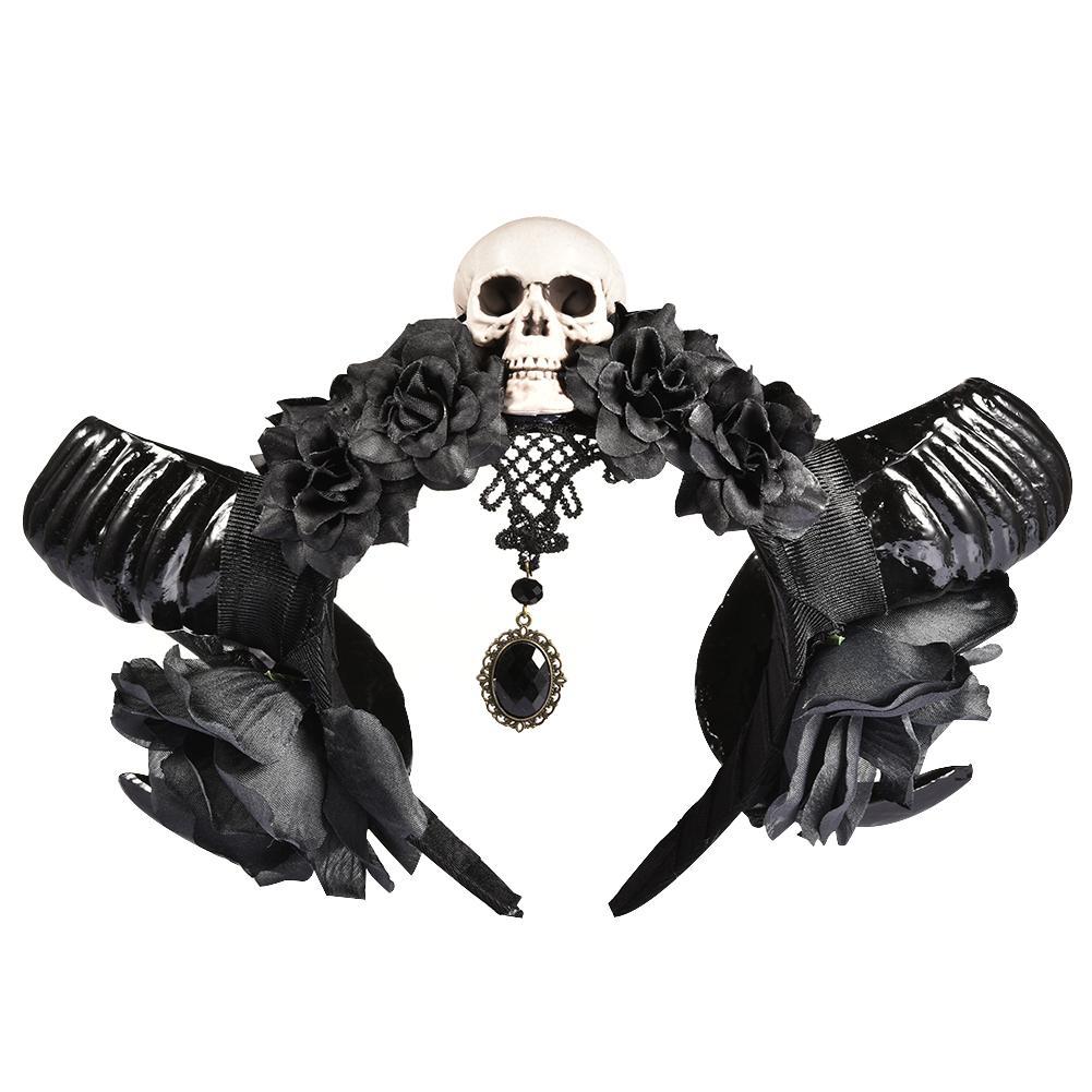 Halloween Devil Horns Skull Headband Gothic Sheep Horn Flowers Headdress Hairband Cosplay   Headwear   Halloween Accessories Girls