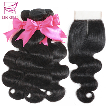 LINKELIN HAIR Body Wave Human Hair Bundles With Closure Bundles With Frontal Peruvian Body Wave Hair Weave Bundles With Closure image