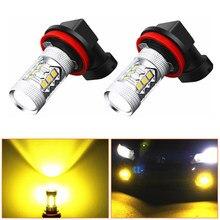 H11 led hb4 9006 hb3 9005 h8 luzes de nevoeiro bulbo 3030smd 3000k amarelo dourado carro condução lâmpada substituir luzes 12 v 24 v lâmpada auto leds