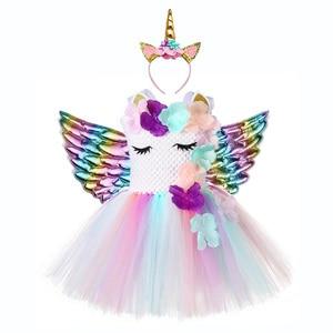 Image 2 - Милое праздничное платье для девочек с цветочным рисунком и единорогом Детские костюмы единорогов на Хэллоуин для девочек 1 год, платье для дня рождения с повязкой на голову с единорогом