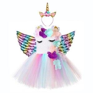 Image 2 - Cute Floral Unicorn Party Girls Dress Kids Halloween Unicorn Costumes for Girls 1 Year Birthday Dress with Unicorn Headband Wing