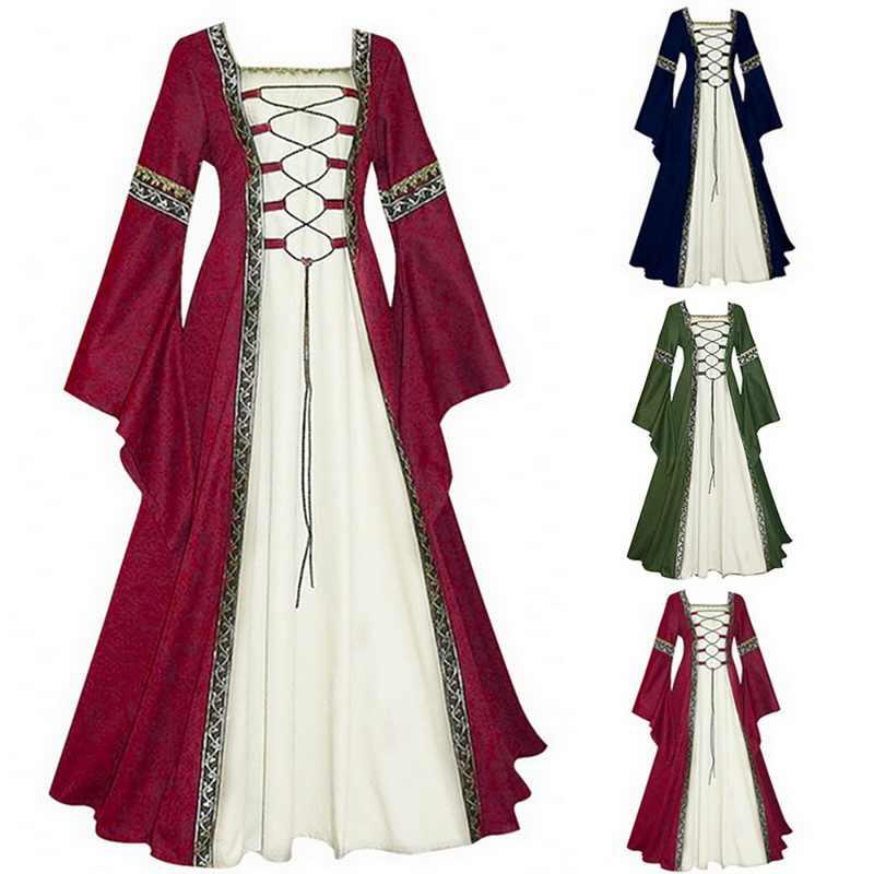 Осеннее женское винтажное платье женское платье с длинными рукавами 2019 модное готическое ретро платье девушки косплей костюм принцесса вечернее платье