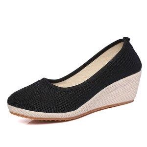 Image 3 - Veowalk Handmade Women Plain Linen Cotton Wedge Espadrilles Vintage Solid Color Ladies High Heel Slip on Platforms Pumps Shoes