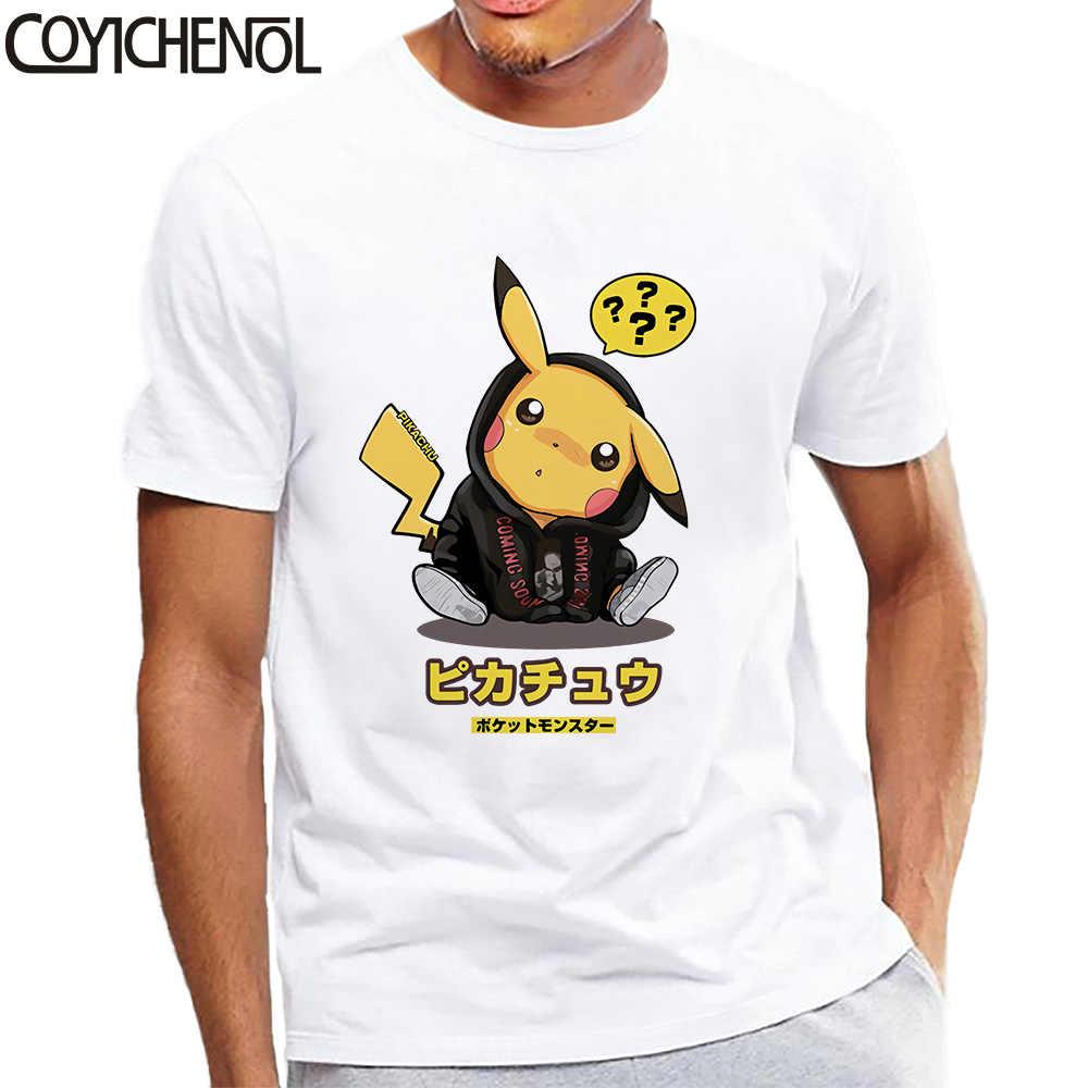 ポケモン男 tシャツ Picachu 特大モーダルおかしいデザインプリントトップス 5XL プリントプラスサイズ無地 tシャツオム COYICHENOL