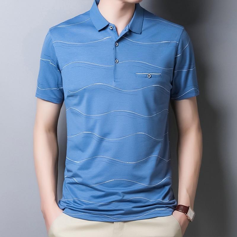 Ymwmhu 2020 New Arrival Men Polo Shirt Wave Striped Fashion Short Sleeve Shirt Summer Cool Streetwear Slim Fit Male Polo Shirt Mega Discount 18f02 Cicig