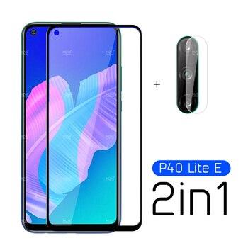 Перейти на Алиэкспресс и купить 2 в 1 Защитное стекло для Huawei P40 Lite E Защитная пленка для объектива камеры закаленное стекло для Huawei P 40 Lite Light E 40Light E