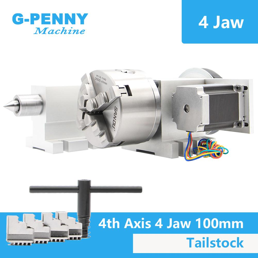 4 Jaw 100mm  4th Axis+Tailstock CNC Dividing Head Rotation Axis/ A Axis Kit  For Mini CNC Router/engraver Wood Working Engraving