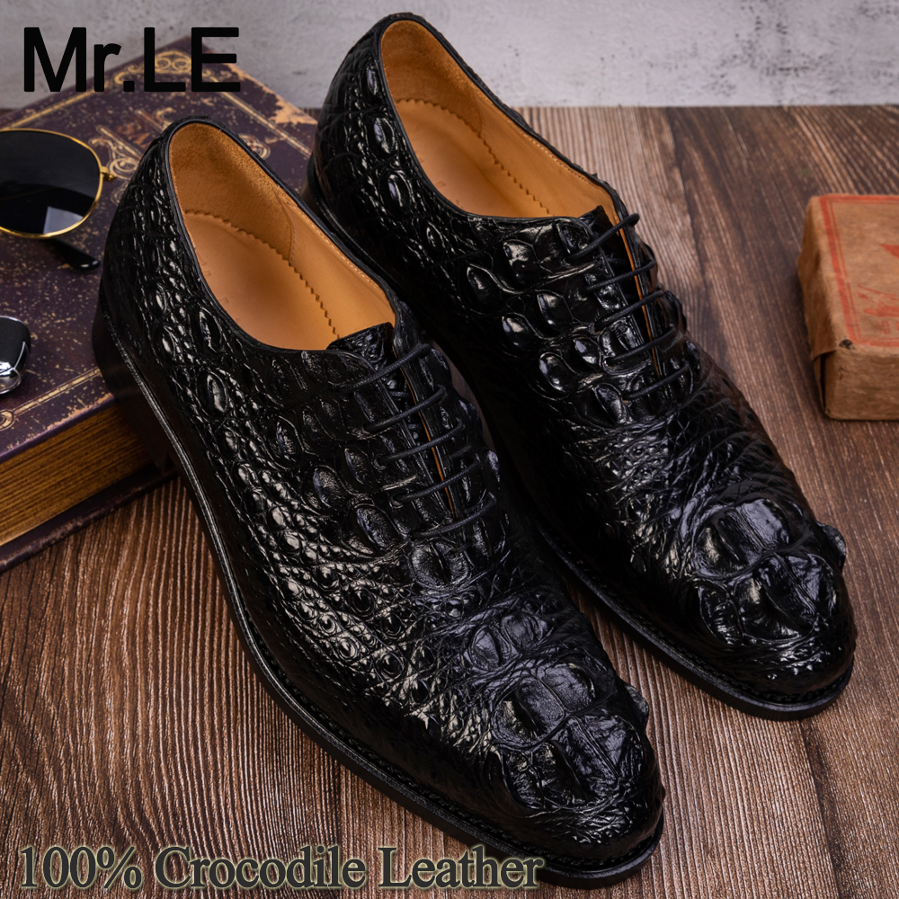 Crocodile Shoes Men Dress 100% Genuine Leather Derby Casual Formal Brand Party Wedding Luxury Men's Oxford Alligator Shoes
