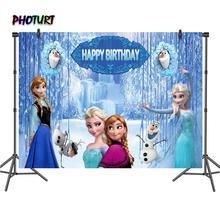 PHOTURT dondurulmuş 2 fotoğraf arka planında kız doğum günü partisi arka plan kraliçe Elsa Anna kar Wonderland vinil fotoğraf stüdyosu sahne