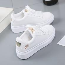 2021 mulheres sapatos casuais nova primavera sapatos femininos moda bordado branco tênis respirável flor laço-up tênis feminino