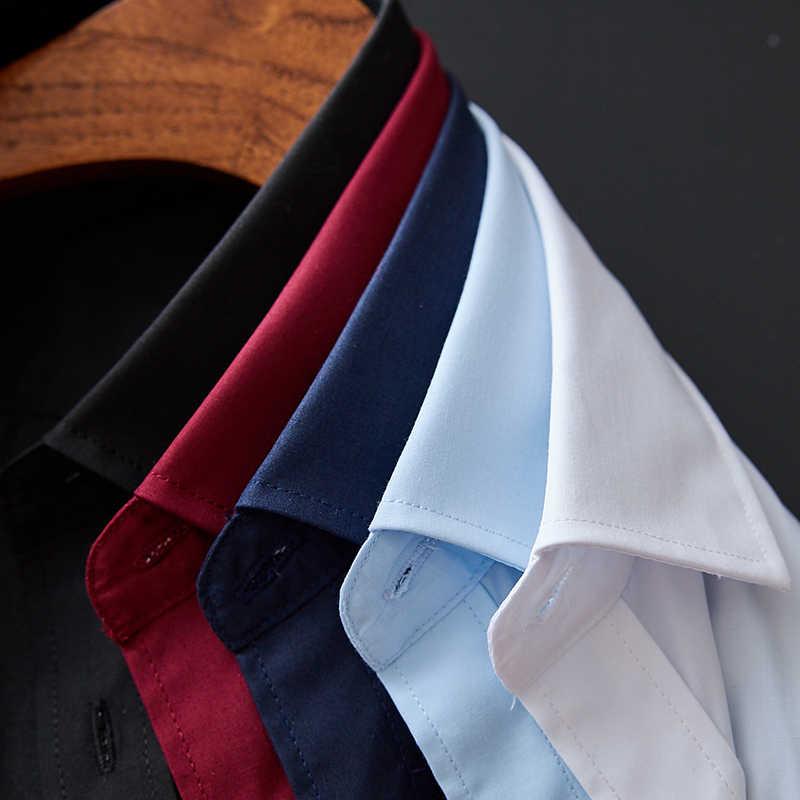 Di alta Qualità Degli Uomini Della Camicia A Maniche Lunghe Solido Formale Camicia di Affari Slim Fit di Marca Uomo Camicie Eleganti Sociale Turn-giù il collare 6 colori
