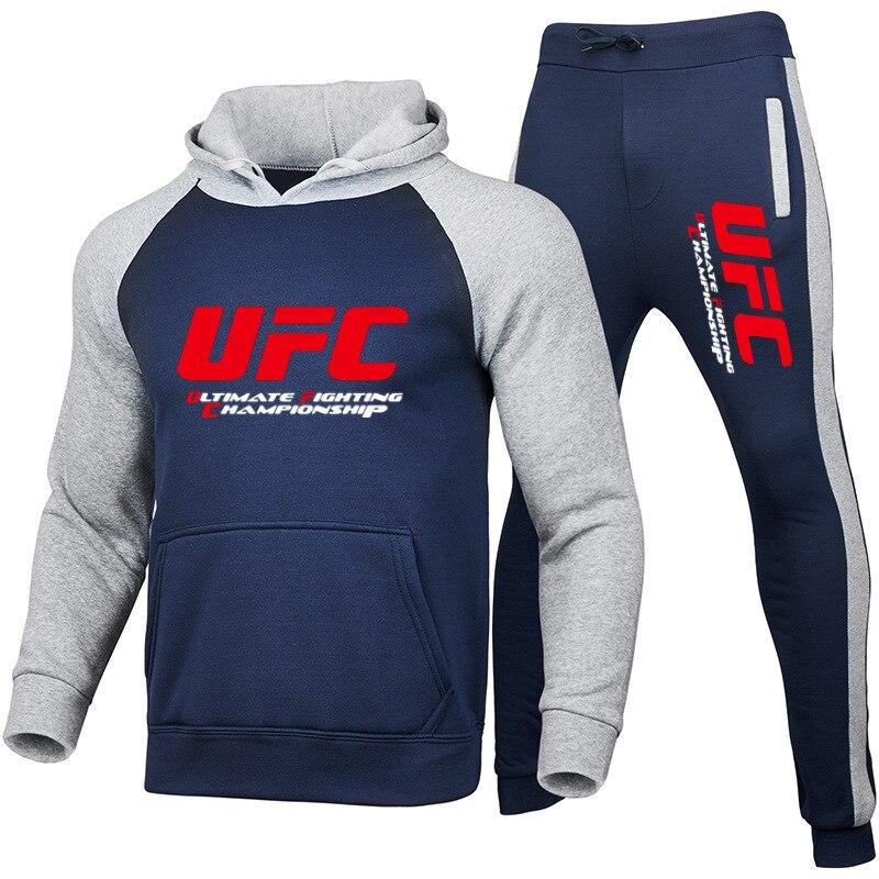 Спортивный костюм для мужчин и женщин, комплект из 2 предметов, толстовка с капюшоном и штаны, спортивная одежда для спортзала, Осень-зима 2021