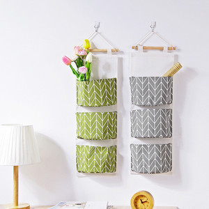 3 Grids Linen Wall Hanging Organizer Storage Bag Containing Toys Decor Storage Pocket Pouch Hanging Bag Home Decor 2019