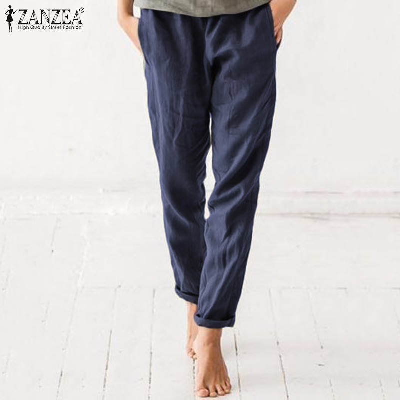 2020 ZANZEA Pants Women Autumn Summer Casual Long Trouser Cotton Pockets Pantalon Femme Plus Size Elastic Waist Vintage Pant 5xl