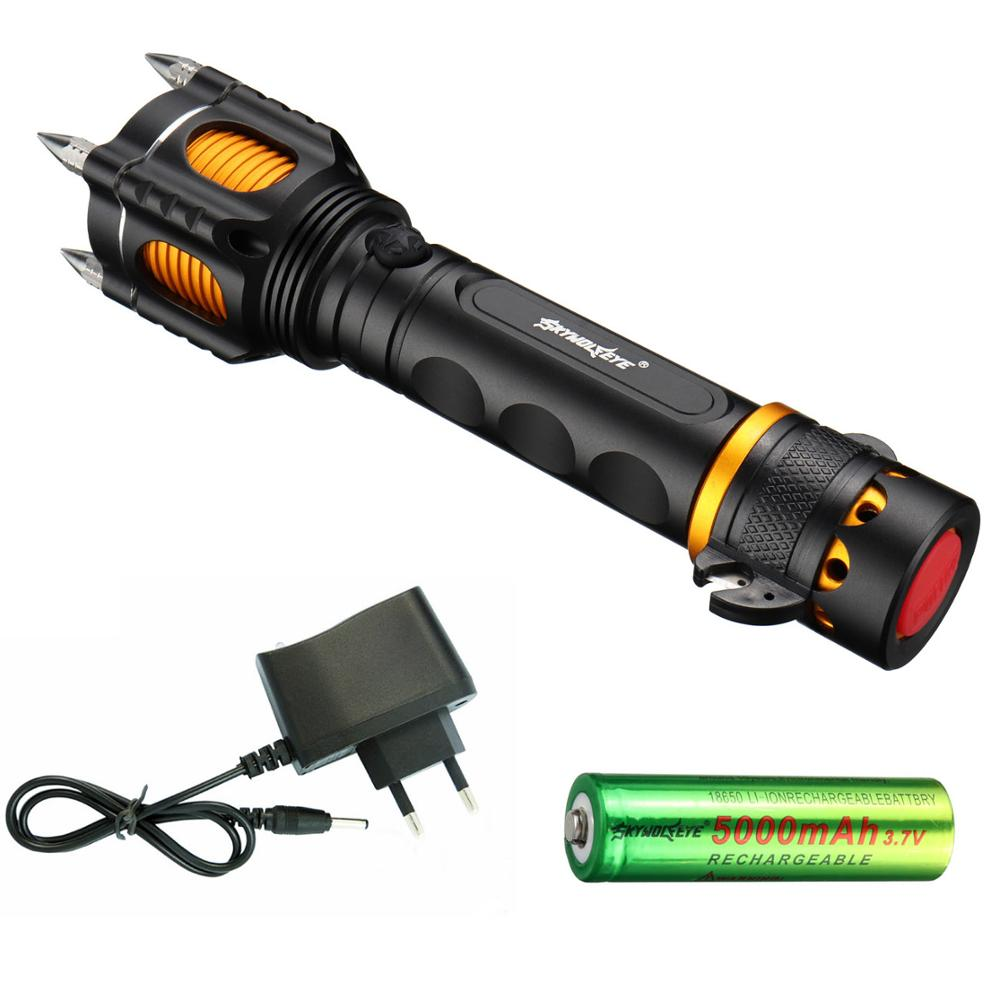 Yeni Varış 5000LM T6 LED Çok Fonksiyonlu Polis El Feneri Torch Su Geçirmez Sesli Alarm Saldırı Avcılık el feneri 5 Modları