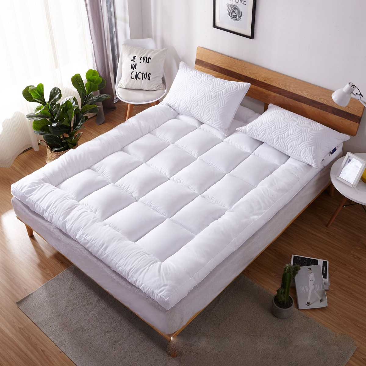 Mattress Pad Queen/King Size Quilted Topper Cover 16