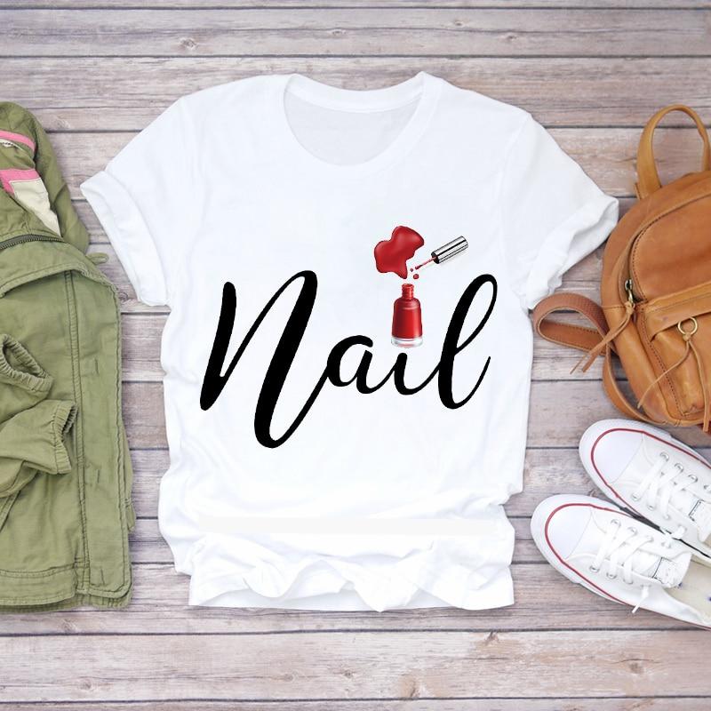 Women 2020 Summer Fingernail Nail Art Make Up 90s Ladies Lady T-shirts Top T Shirt Ladies Womens Graphic Female Tee T-Shirt