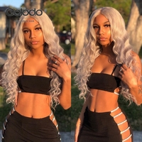 COLODO Grey Color Human Hair Wigs Loose Wave Lace Front Human Hair Wigs Remy Brazilian Blue Ombre Transparent Lace Wig for Women