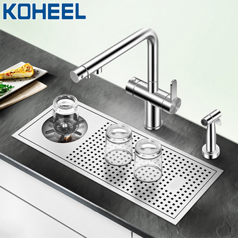 KOHEEL Kitchen Sink Cleaning The Cup Bar Sink Small Bezel Stainless Steel Coffe Sink Commercial Bar Above Counter Sink FKS16