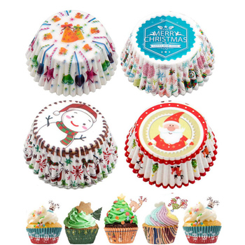 100Pcs Christmas Cupcake Paper Cups Muffin Cupcake Liners Merry Christmas Cake Mold Baking Cup Home Christmas Cake Decorations baking tool cake dough batter cream dispenser cupcake funnel batter separator valve measuring cup muffin cups optional cake mold