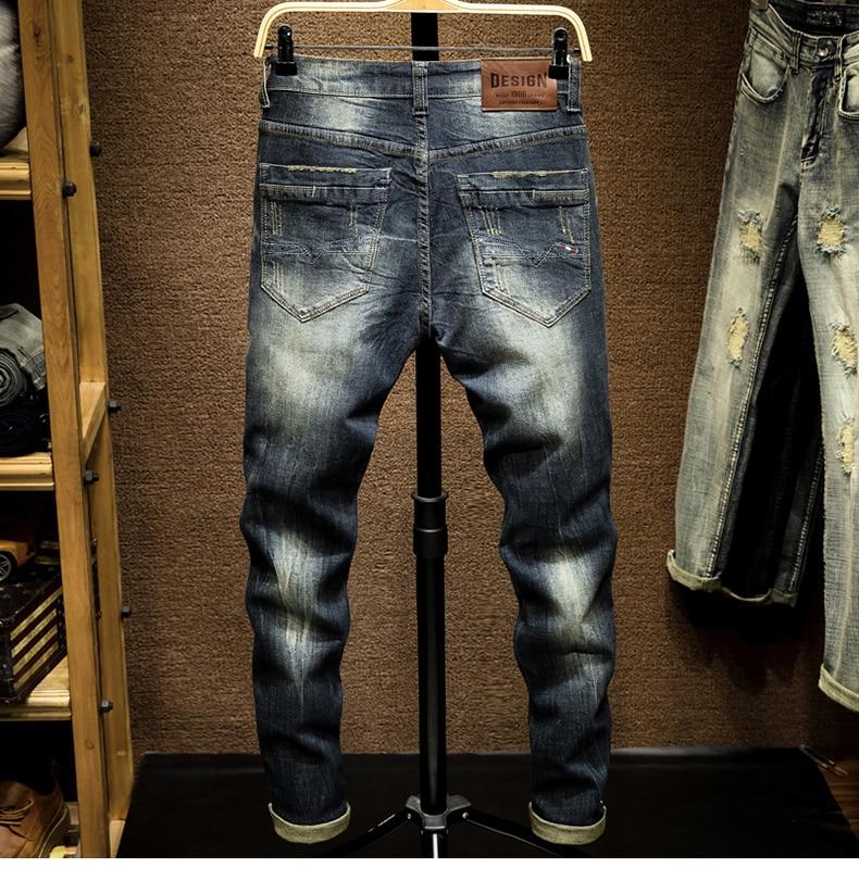 Mens Dark Blue Jeans Pants Denim Slim Fit Elastic Casual Punk Jeans Men High Street Vintage