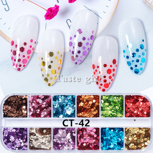 Image 5 - 12 colors/set Aluminum Irregular Holographic Glitter Powder Nail Colorful Flakes Manicure Nail Sequins Mirror Paillette Tips