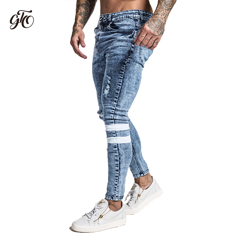 Ankle Tight Fit Gingtto Men Skinny Jeans Stretch Light Blue Repaired n Chain