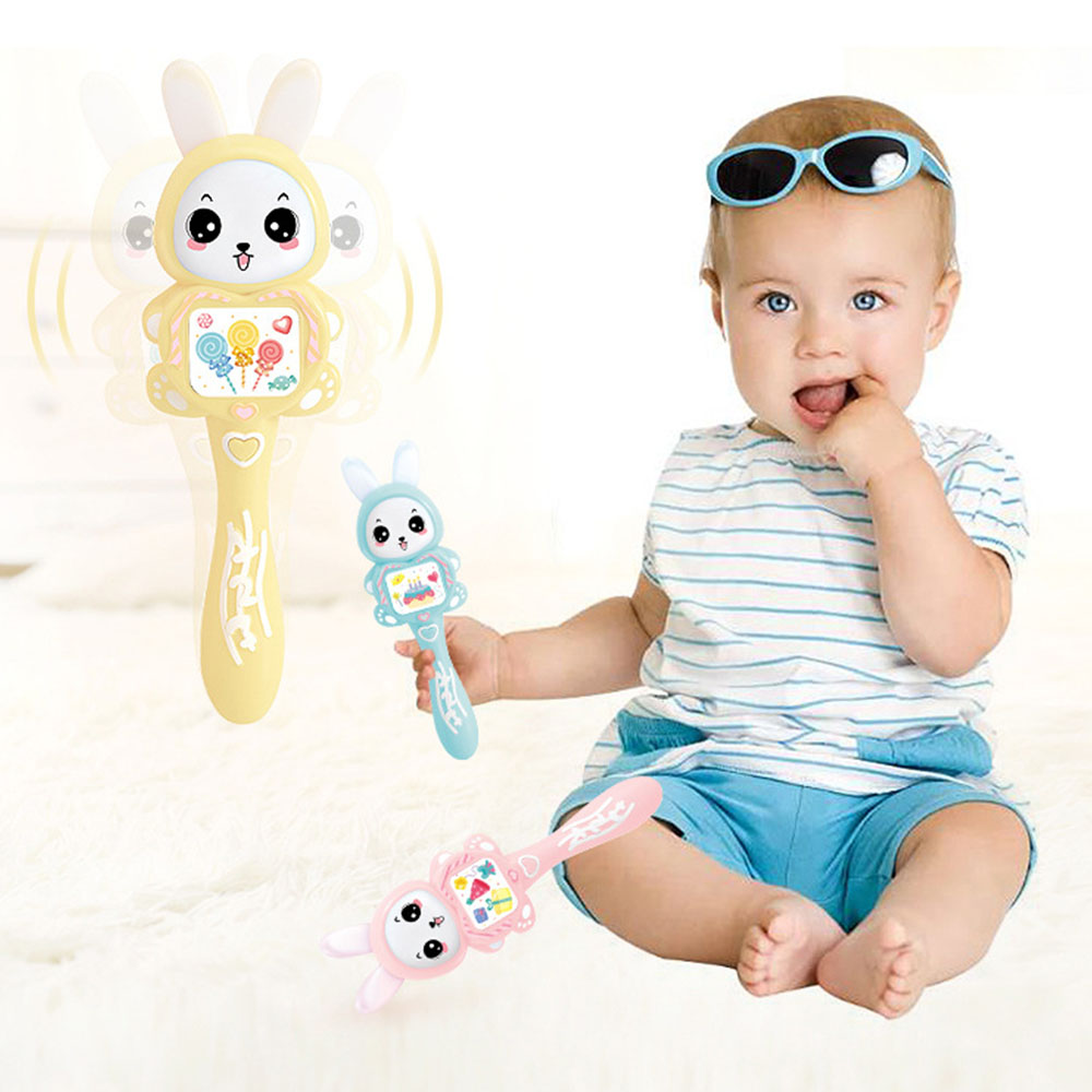 Baby Infant Teether Hand Bell Toys Newborns Music Rattles Educational Puzzle Early Story Learning Machine Cute Rabbit Light Toys