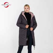 Women Coat QUILTED Long-Jacket Autumn Plus-Size Cotton NEW MODERN SAGA