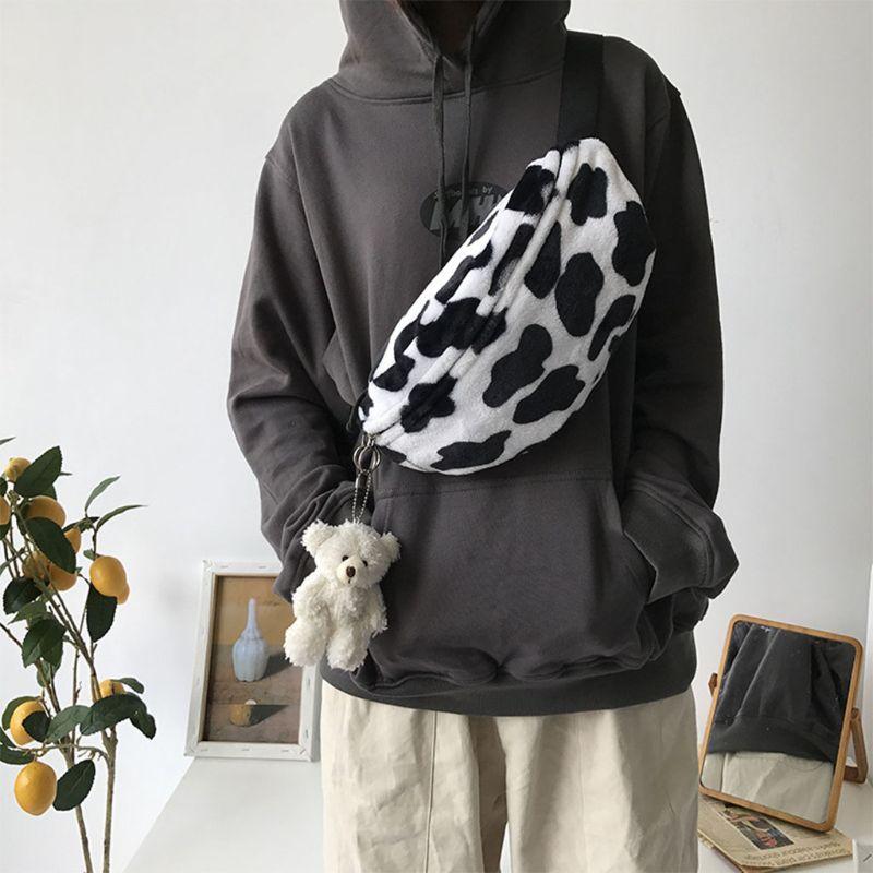 Cute Adorable New Women Cow Print Plush Waist Fanny Pack Pouch Travel Hip Bum Shoulder Bags Purse
