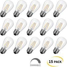 Ampoules Edison de remplacement S14, équivalent à 11W, incassables, blanches chaudes, pour guirlandes lumineuses extérieures, 15 paquets