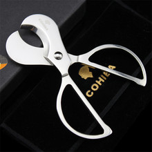 COHIBA Stainless Steel Cuba Cigar Cutter Sharp Cigarrera Cutters Punch Ciggar Accesorios Tobacco Cutting Scissors  Cohiba