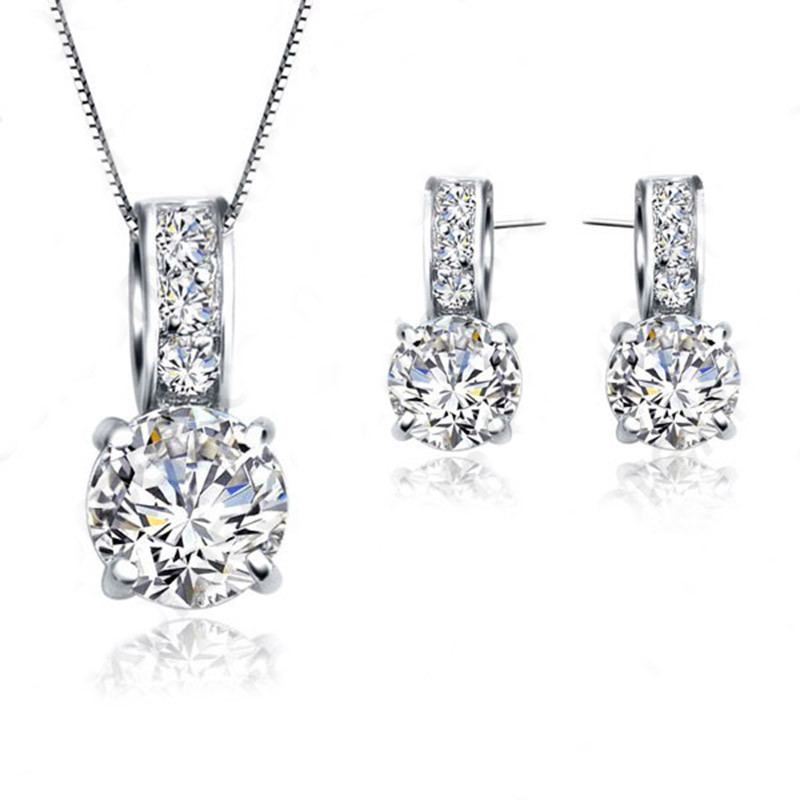 European Brand 925 Sterling Silver Cubic Zircon Pendant Necklace/Earring Women Jewelry Sets Wholesale