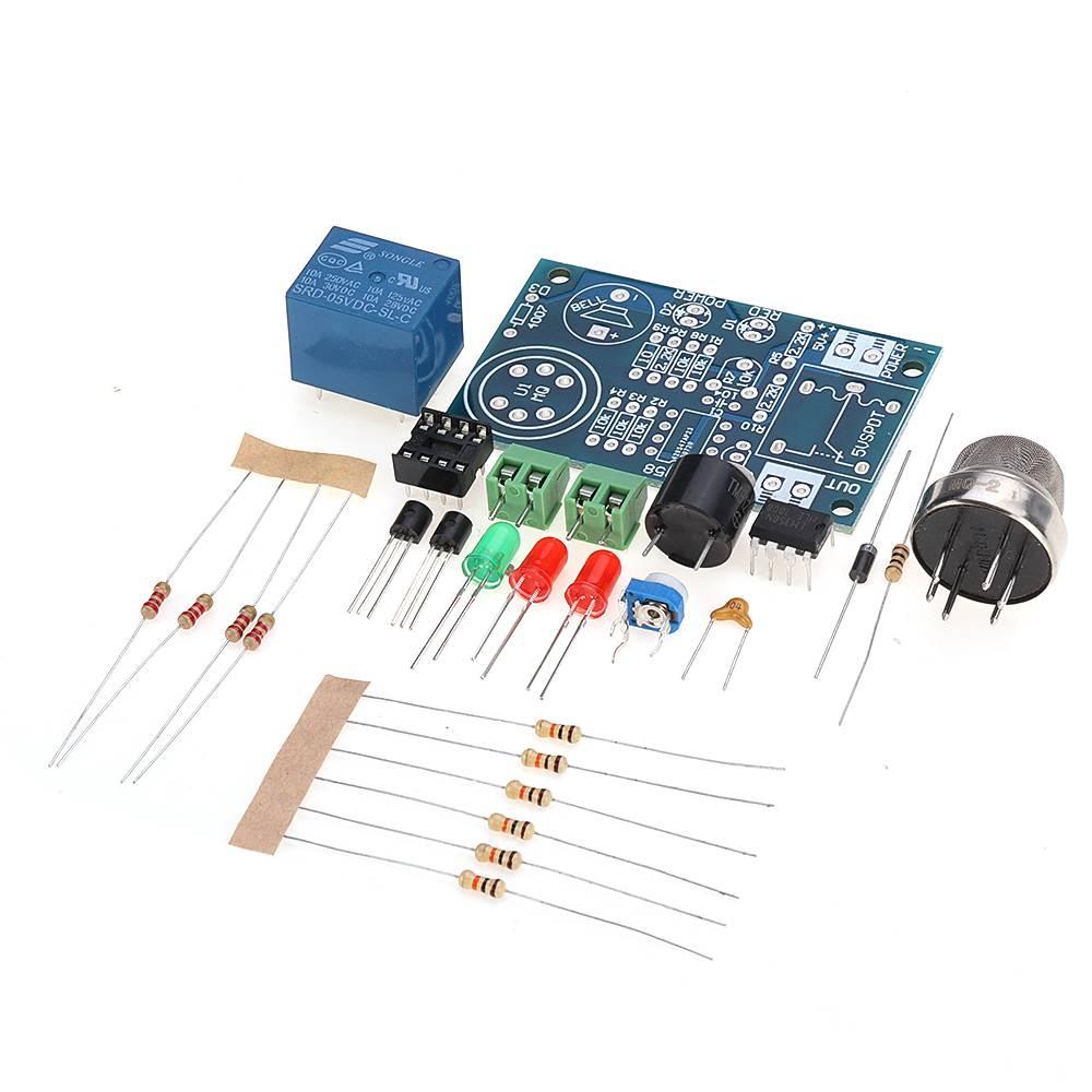 DC5V-6V Electronic MQ-2 Smoke Sensor LM358 Integrated Chip DIY Kit Detector Natural Gas Alarm Components Kit Module Board