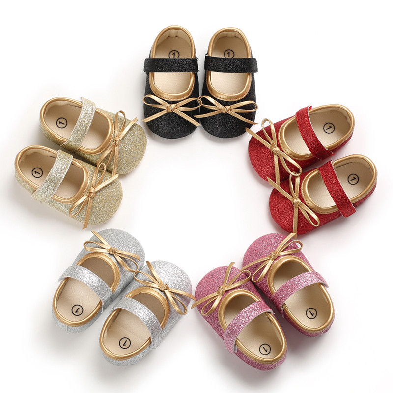 Toddler Infant Kids Baby Girls Bling Sequins First Walker Shoes Sweet Children Shoes For Girls Birthday Christmas Party Shoes