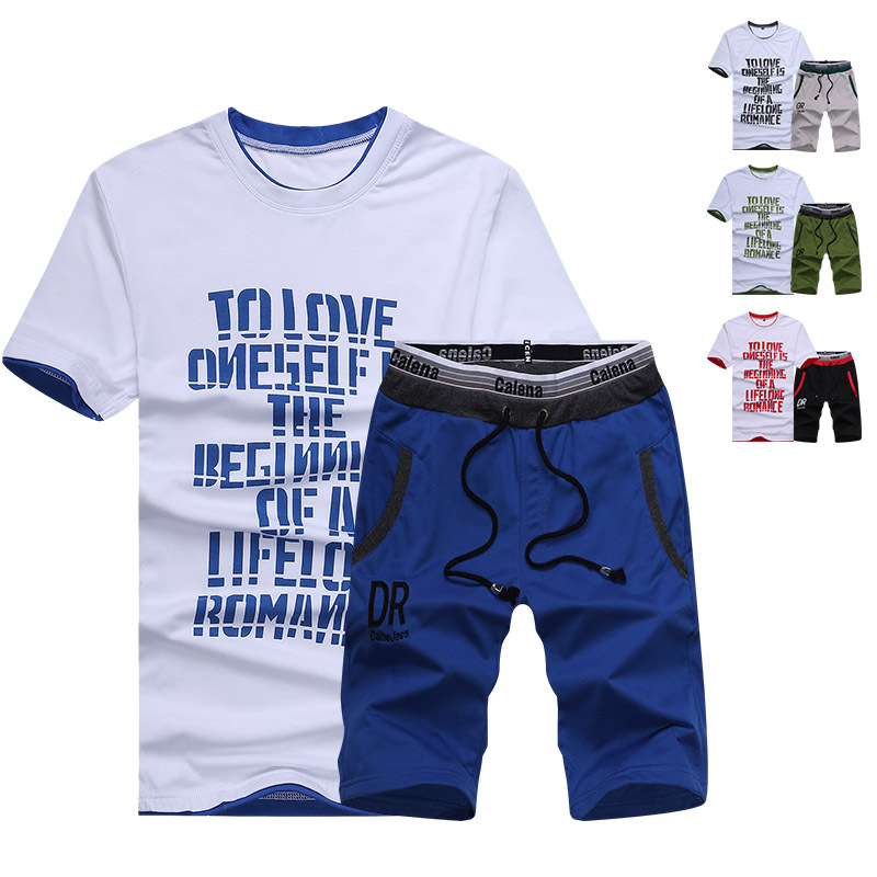 2019 Summer New Style Men Short Sleeve Crew Neck T-shirt Men'S Wear Teenager Korean-style Casual DR Sports Set D03