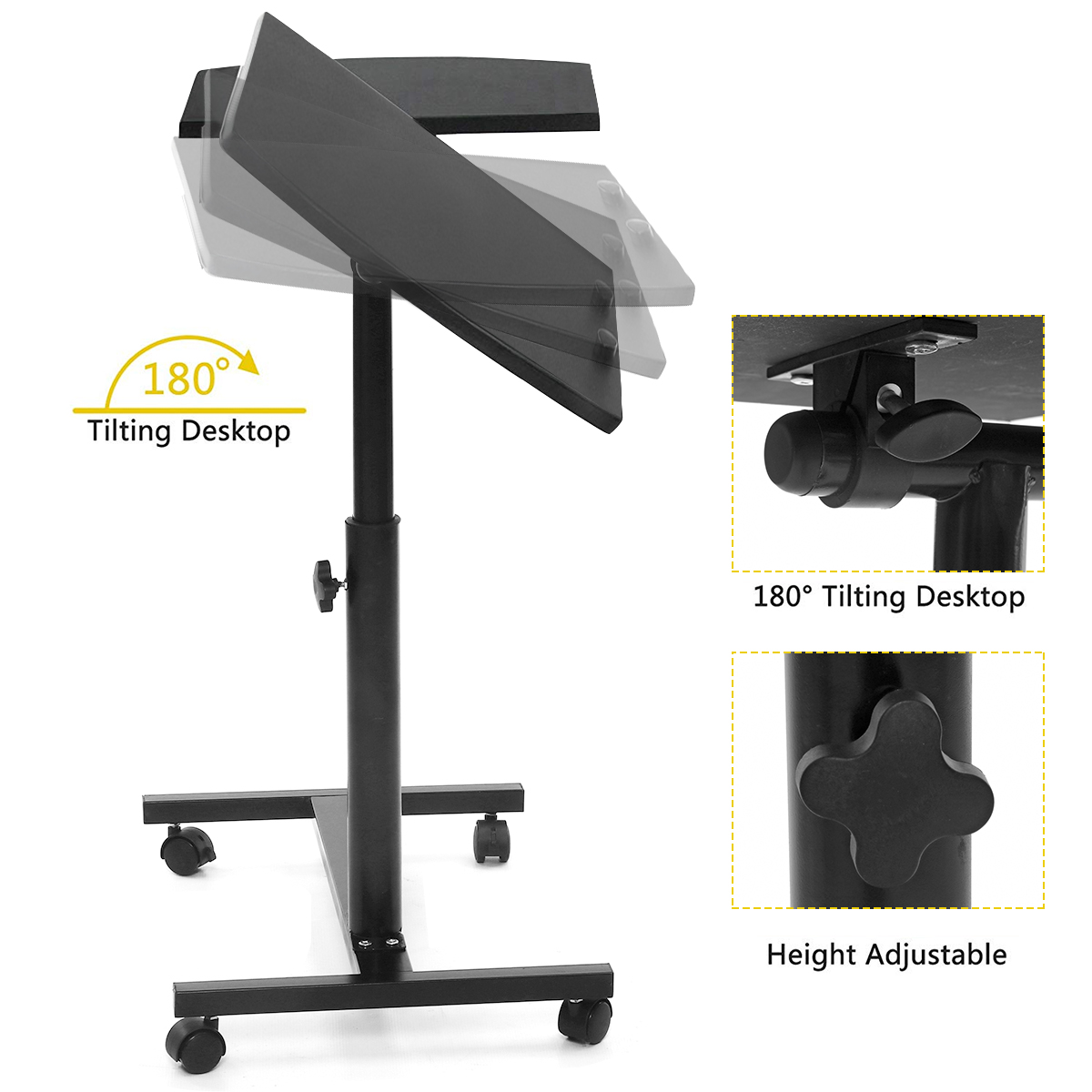 Laptop Stand Rolling Cart Desk Adjustable Height  Laptop Table Desk Bed Sofa Tray Rolling Portable Notebook Desk With Wheels